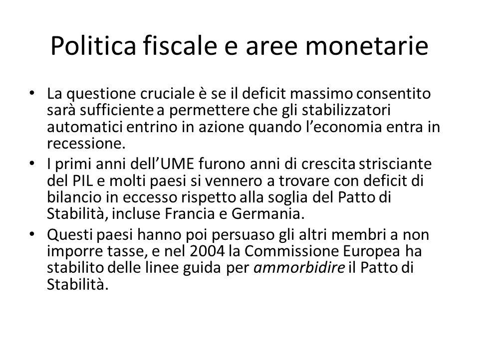 Politica fiscale e aree monetarie La questione cruciale è se il deficit massimo consentito sarà sufficiente a permettere che gli stabilizzatori automa