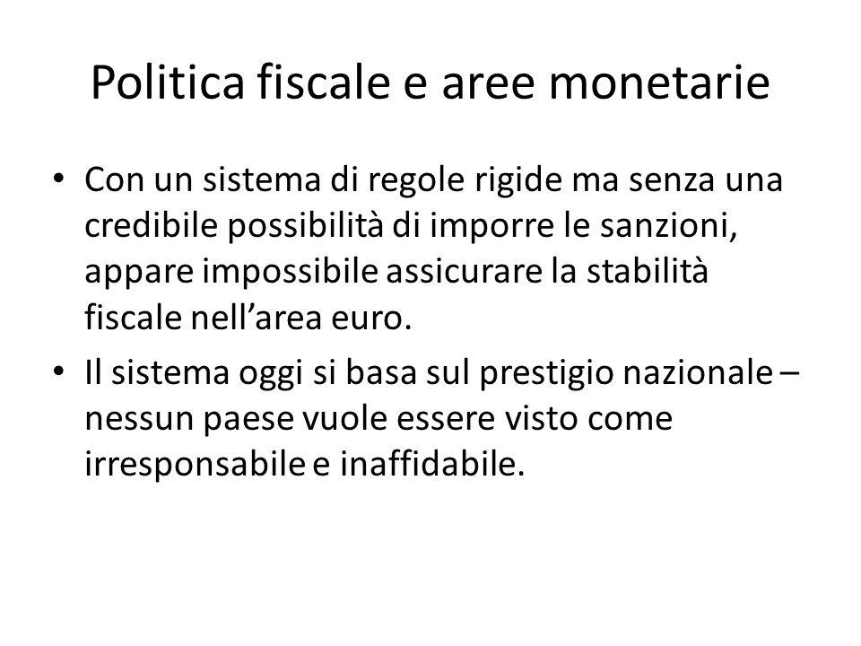 Politica fiscale e aree monetarie Con un sistema di regole rigide ma senza una credibile possibilità di imporre le sanzioni, appare impossibile assicu