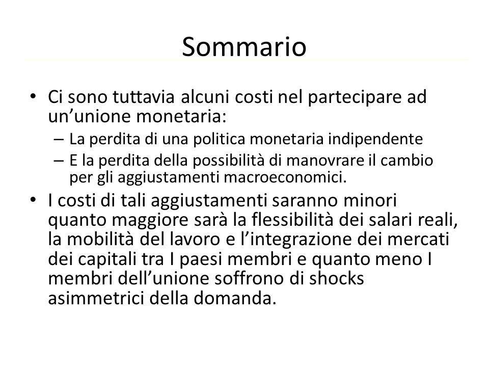 Sommario Ci sono tuttavia alcuni costi nel partecipare ad un'unione monetaria: – La perdita di una politica monetaria indipendente – E la perdita dell