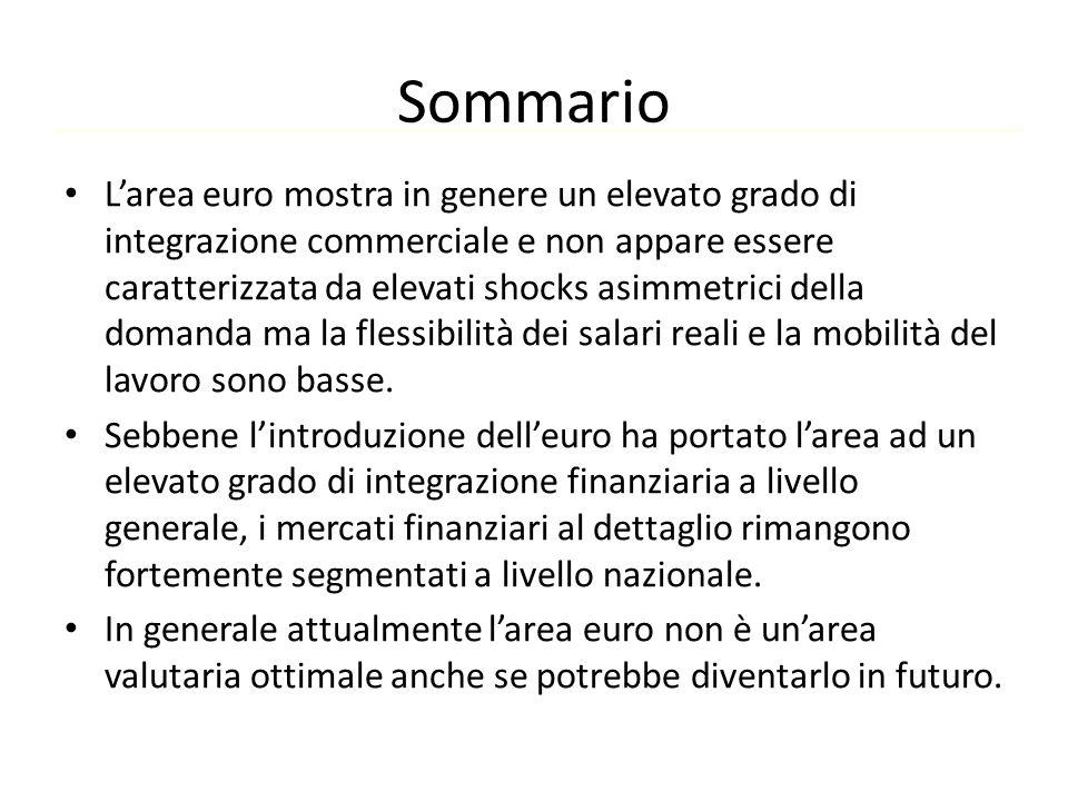 Sommario L'area euro mostra in genere un elevato grado di integrazione commerciale e non appare essere caratterizzata da elevati shocks asimmetrici de