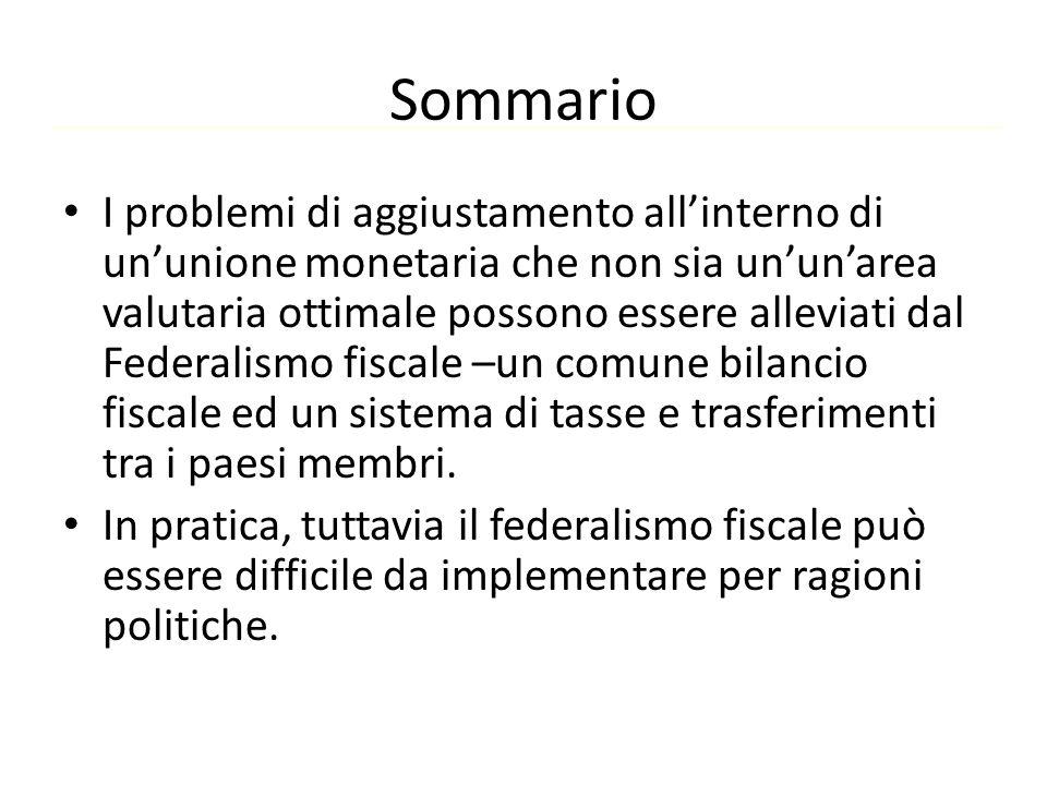 Sommario I problemi di aggiustamento all'interno di un'unione monetaria che non sia un'un'area valutaria ottimale possono essere alleviati dal Federal