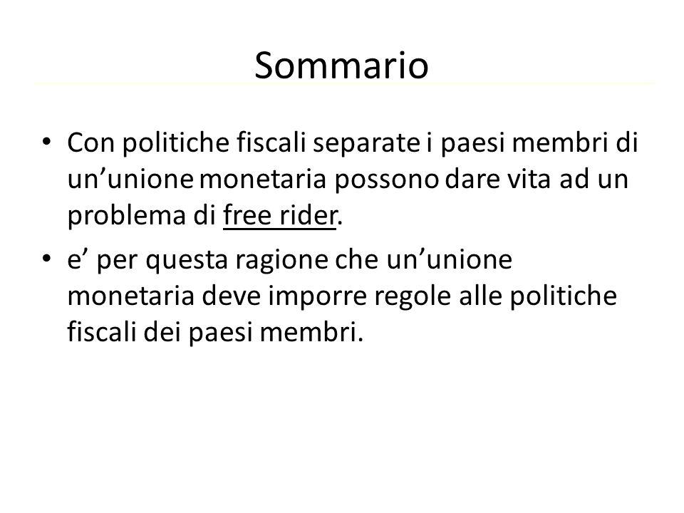 Sommario Con politiche fiscali separate i paesi membri di un'unione monetaria possono dare vita ad un problema di free rider. e' per questa ragione ch