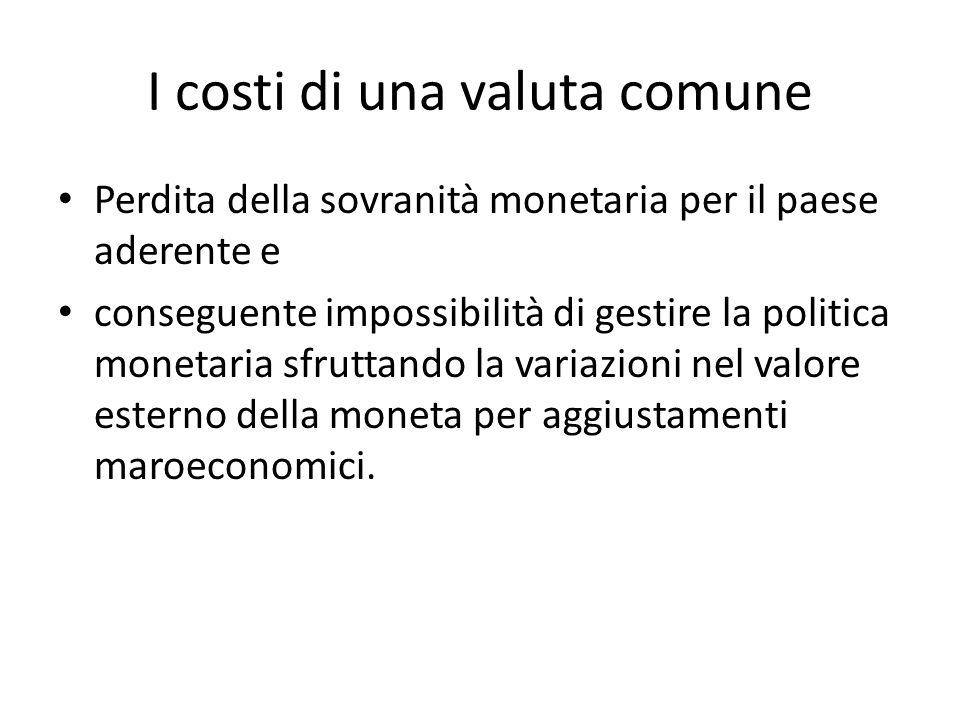 Sommario Ci sono tuttavia alcuni costi nel partecipare ad un'unione monetaria: – La perdita di una politica monetaria indipendente – E la perdita della possibilità di manovrare il cambio per gli aggiustamenti macroeconomici.