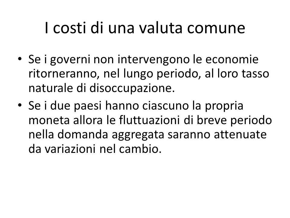 I costi di una valuta comune Se i governi non intervengono le economie ritorneranno, nel lungo periodo, al loro tasso naturale di disoccupazione. Se i