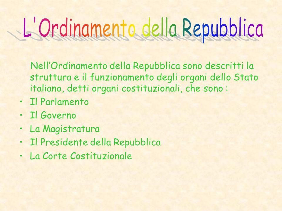 Nell'Ordinamento della Repubblica sono descritti la struttura e il funzionamento degli organi dello Stato italiano, detti organi costituzionali, che sono : Il Parlamento Il Governo La Magistratura Il Presidente della Repubblica La Corte Costituzionale