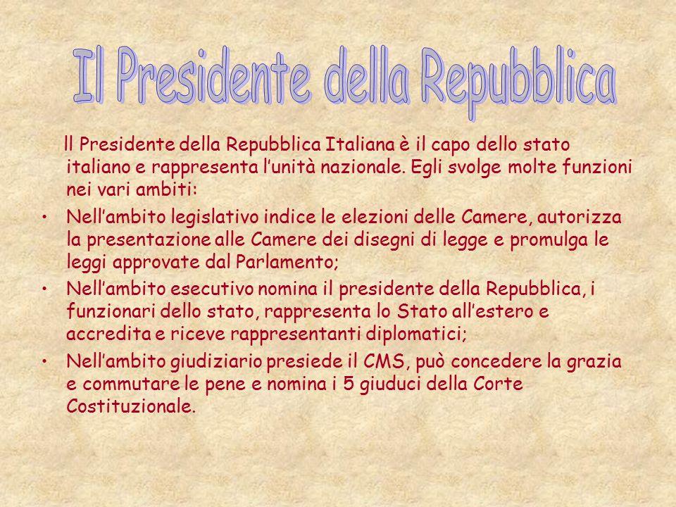 ll Presidente della Repubblica Italiana è il capo dello stato italiano e rappresenta l'unità nazionale.