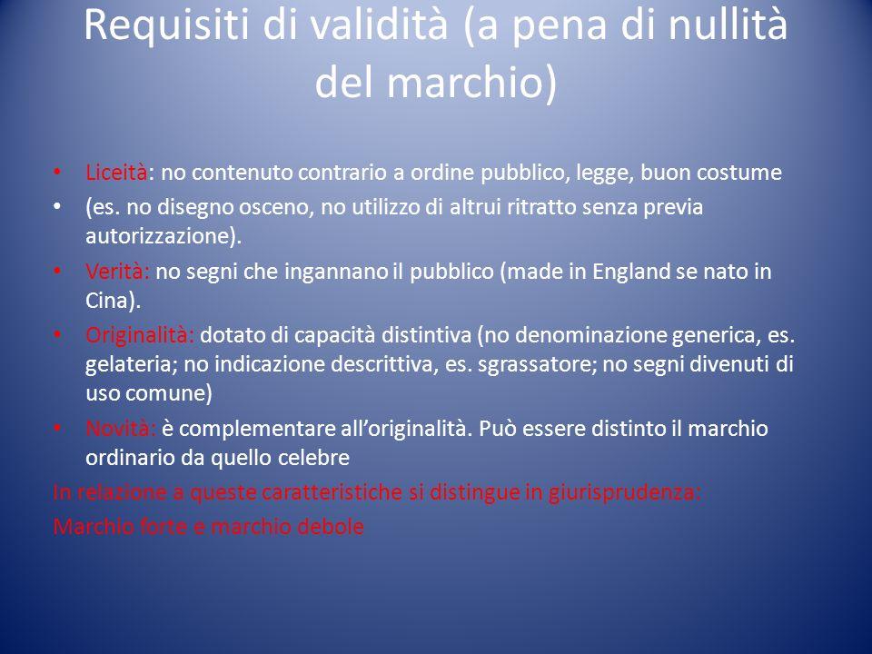 Requisiti di validità (a pena di nullità del marchio) Liceità: no contenuto contrario a ordine pubblico, legge, buon costume (es.