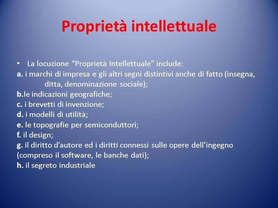 Proprietà intellettuale La locuzione Proprietà Intellettuale include: a.