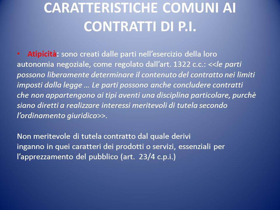 CARATTERISTICHE COMUNI AI CONTRATTI DI P.I.