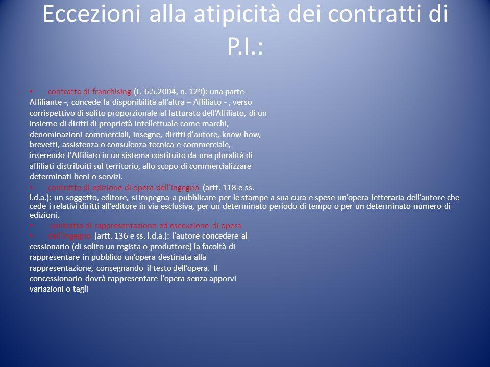 Eccezioni alla atipicità dei contratti di P.I.: contratto di franchising (L.