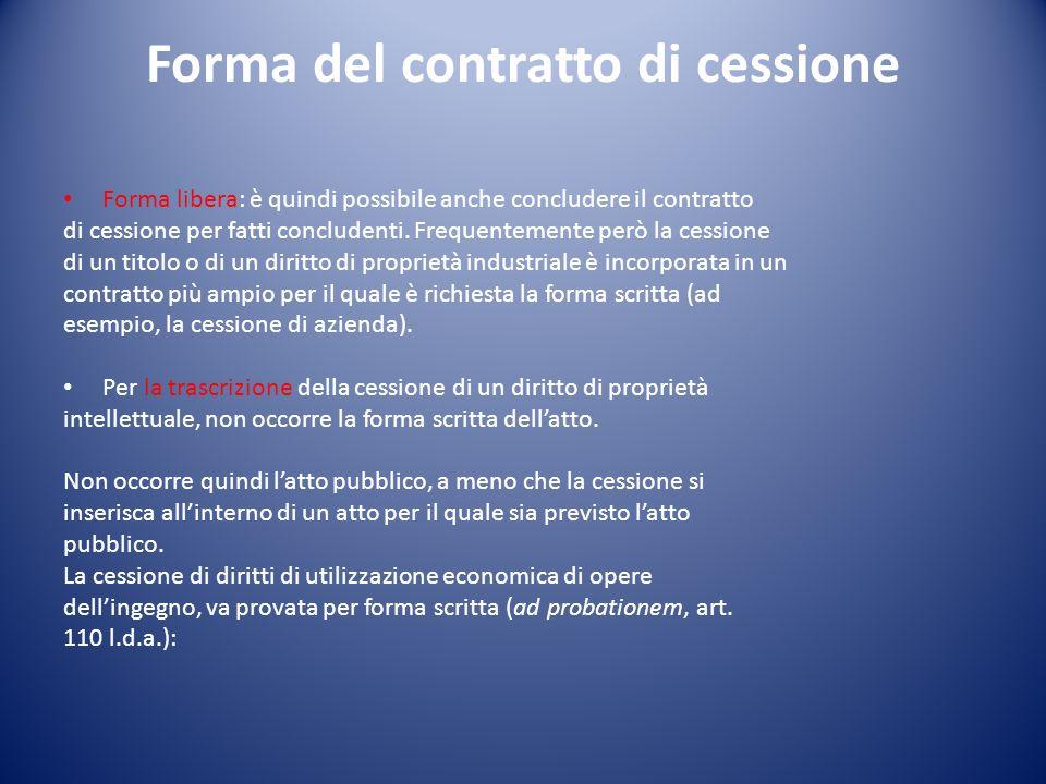 Forma del contratto di cessione Forma libera: è quindi possibile anche concludere il contratto di cessione per fatti concludenti.