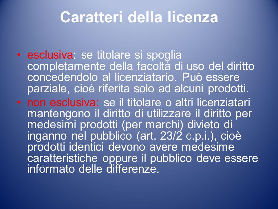 Caratteri della licenza esclusiva: se titolare si spoglia completamente della facoltà di uso del diritto concedendolo al licenziatario.