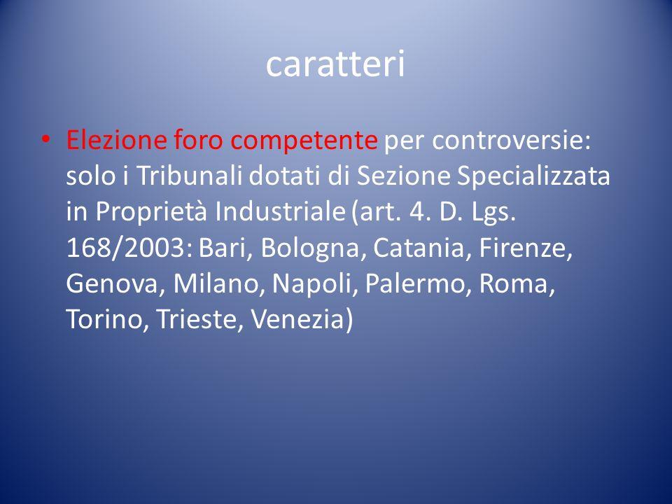 caratteri Elezione foro competente per controversie: solo i Tribunali dotati di Sezione Specializzata in Proprietà Industriale (art.