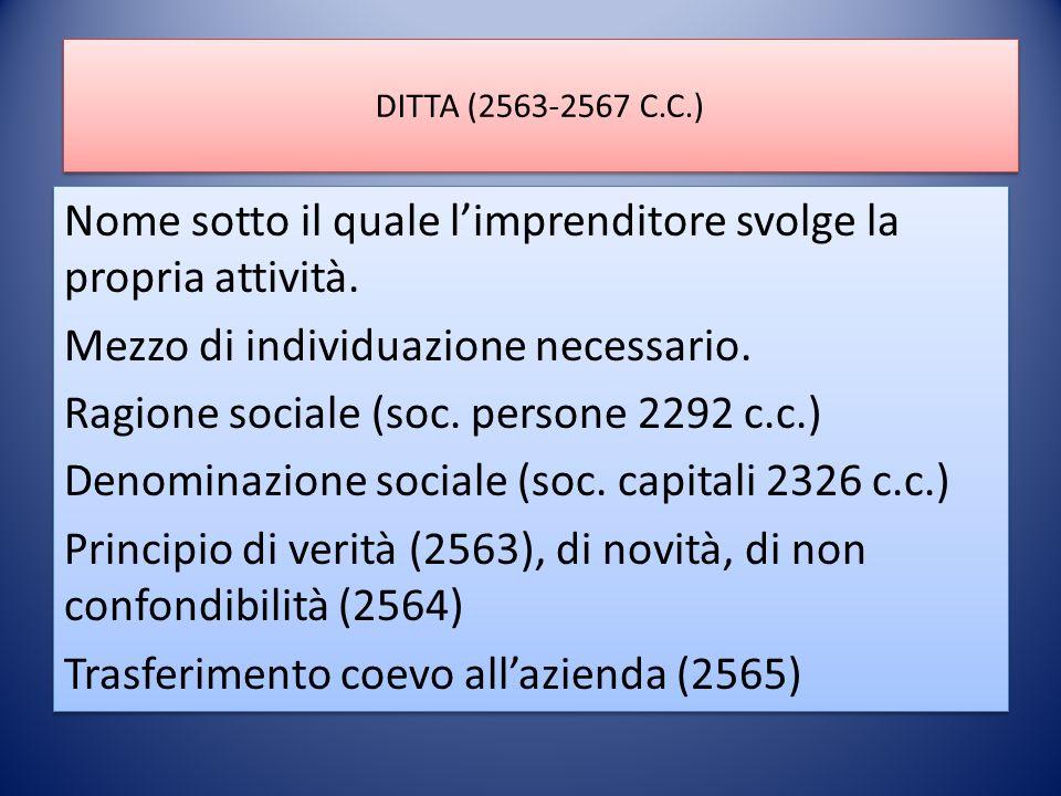 DITTA (2563-2567 C.C.) Nome sotto il quale l'imprenditore svolge la propria attività.