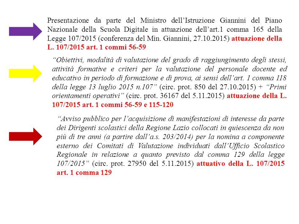 Presentazione da parte del Ministro dell'Istruzione Giannini del Piano Nazionale della Scuola Digitale in attuazione dell'art.1 comma 165 della Legge 107/2015 (conferenza del Min.