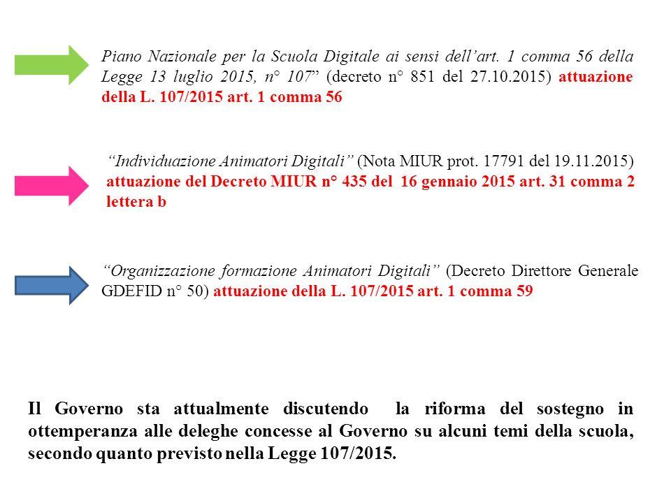 Piano Nazionale per la Scuola Digitale ai sensi dell'art.