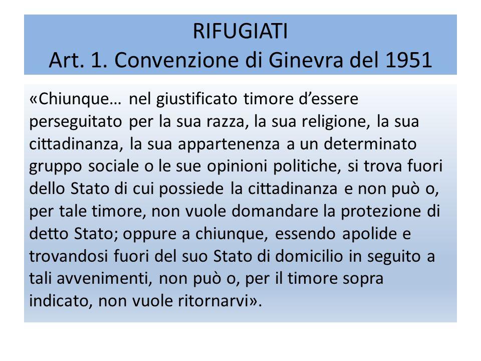 RIFUGIATI Art. 1.