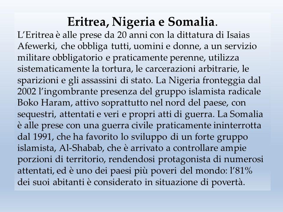 Eritrea, Nigeria e Somalia.