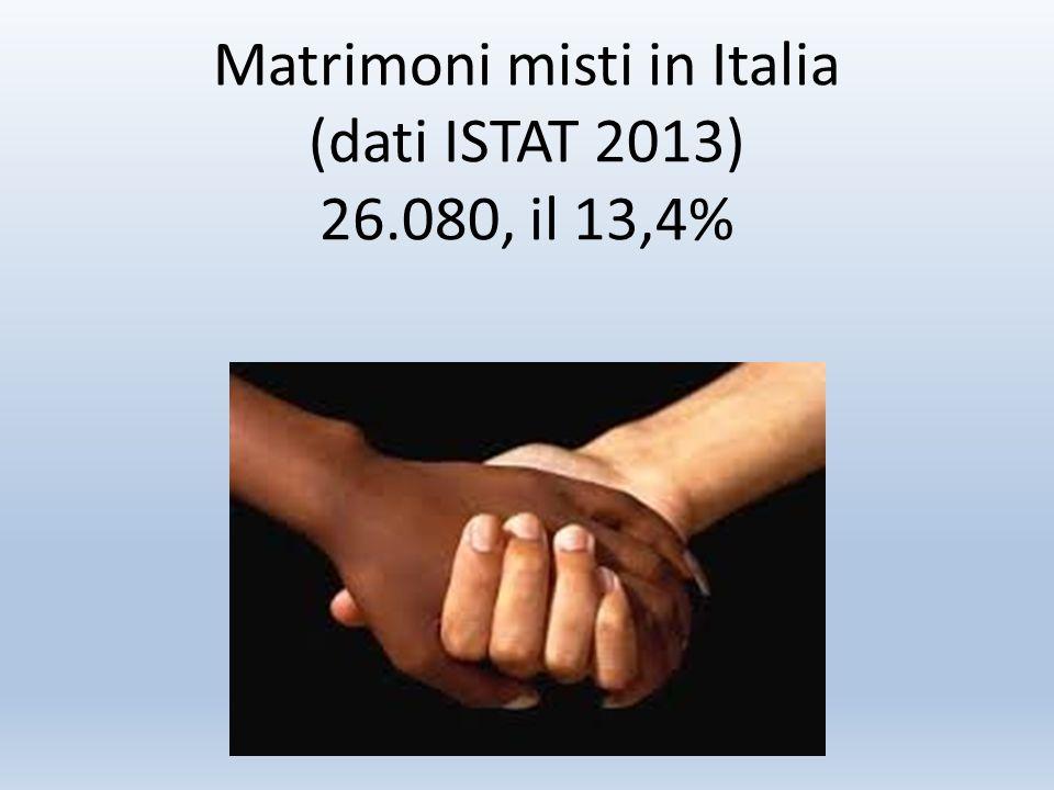 Matrimoni misti in Italia (dati ISTAT 2013) 26.080, il 13,4%