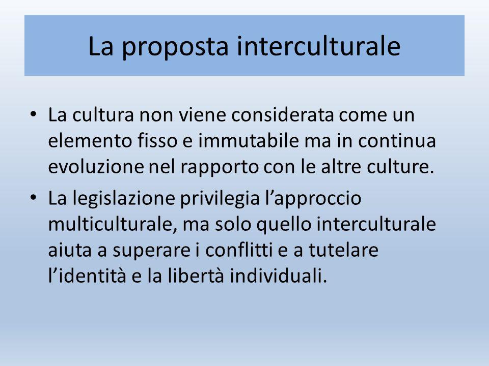 La proposta interculturale La cultura non viene considerata come un elemento fisso e immutabile ma in continua evoluzione nel rapporto con le altre culture.