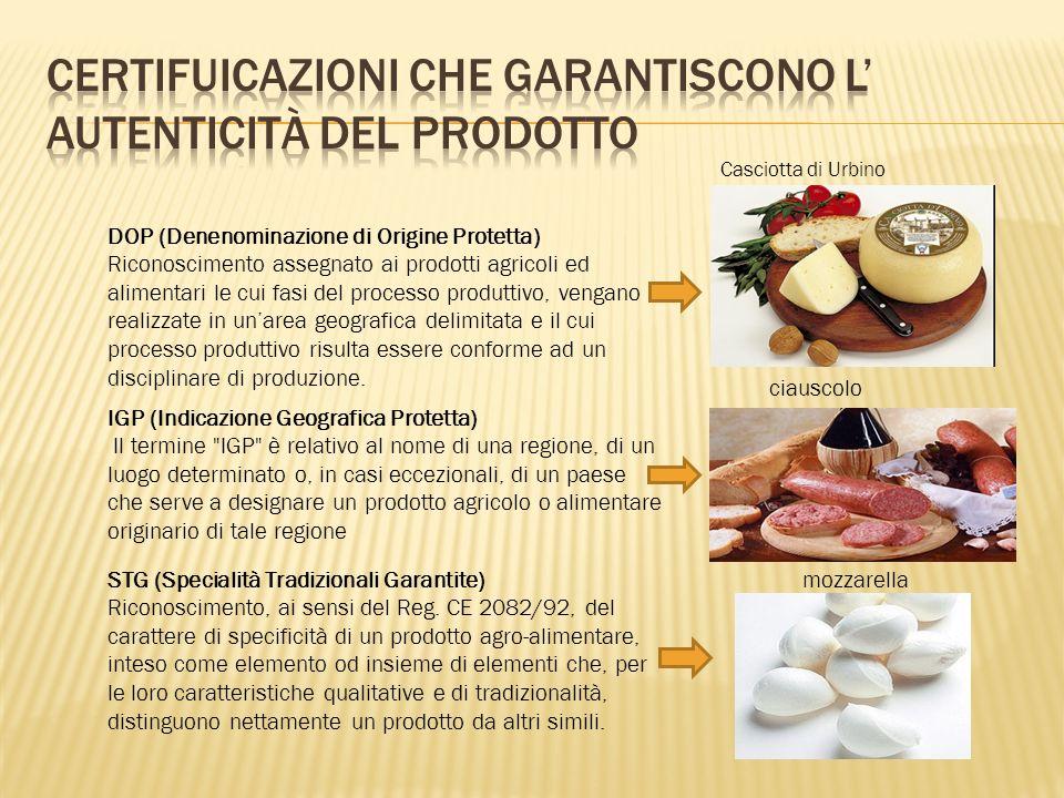 DOP (Denenominazione di Origine Protetta) Riconoscimento assegnato ai prodotti agricoli ed alimentari le cui fasi del processo produttivo, vengano realizzate in un'area geografica delimitata e il cui processo produttivo risulta essere conforme ad un disciplinare di produzione.