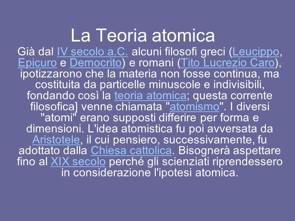La Teoria atomica Già dal IV secolo a.C.