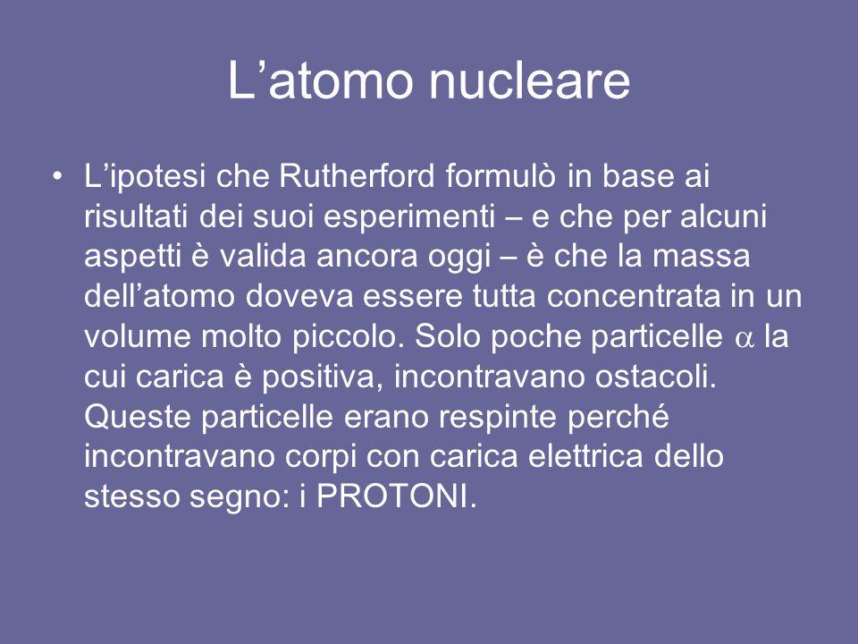 L'atomo nucleare L'ipotesi che Rutherford formulò in base ai risultati dei suoi esperimenti – e che per alcuni aspetti è valida ancora oggi – è che la massa dell'atomo doveva essere tutta concentrata in un volume molto piccolo.