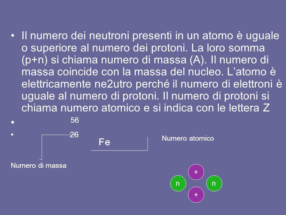 Il numero dei neutroni presenti in un atomo è uguale o superiore al numero dei protoni.
