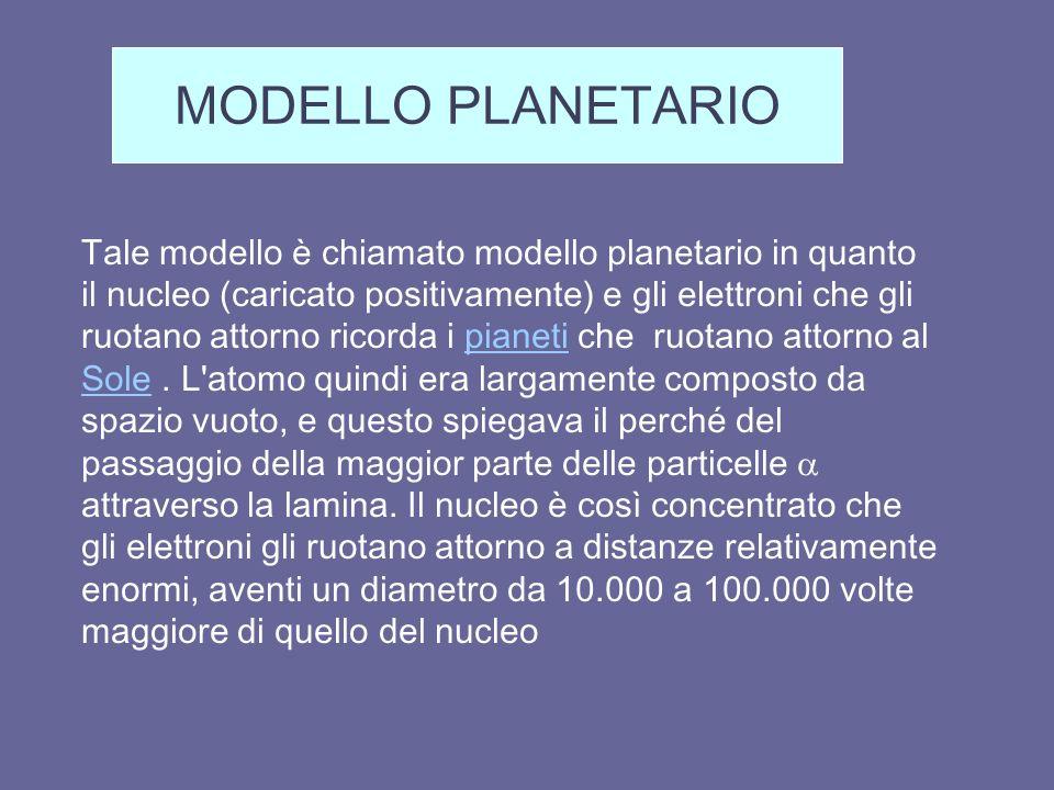 Tale modello è chiamato modello planetario in quanto il nucleo (caricato positivamente) e gli elettroni che gli ruotano attorno ricorda i pianeti che ruotano attorno al Sole.