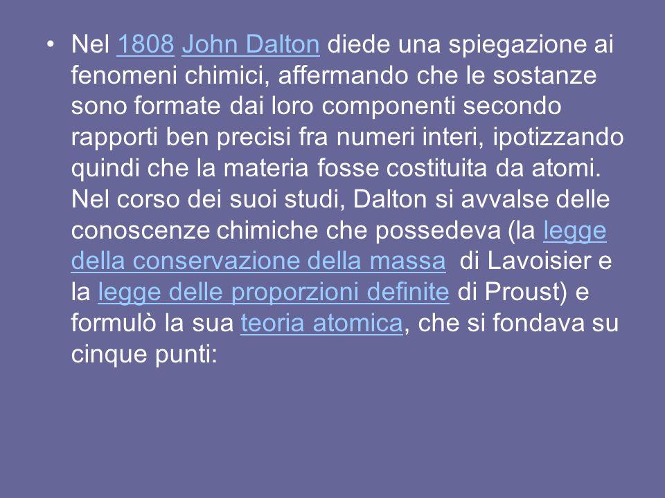 Nel 1808 John Dalton diede una spiegazione ai fenomeni chimici, affermando che le sostanze sono formate dai loro componenti secondo rapporti ben precisi fra numeri interi, ipotizzando quindi che la materia fosse costituita da atomi.