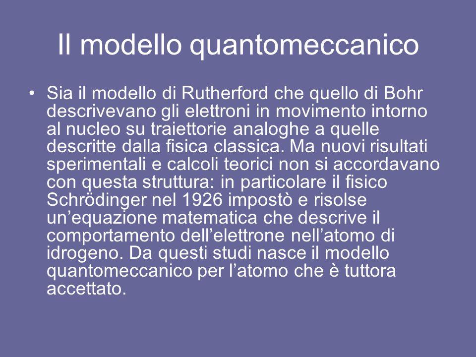 Il modello quantomeccanico Sia il modello di Rutherford che quello di Bohr descrivevano gli elettroni in movimento intorno al nucleo su traiettorie analoghe a quelle descritte dalla fisica classica.