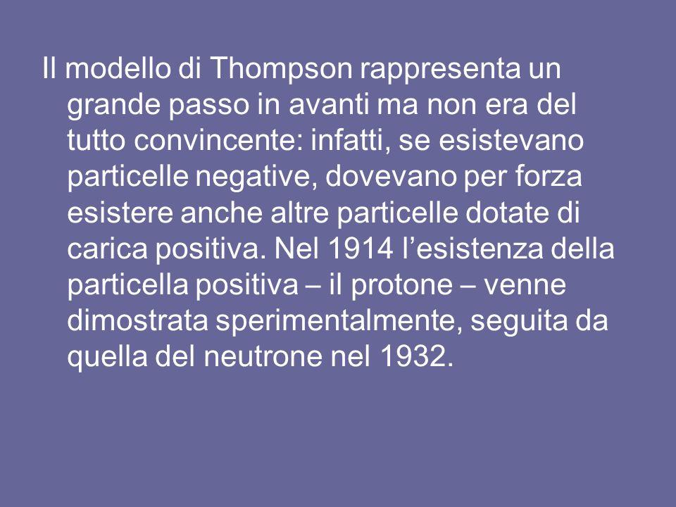 Il modello di Thompson rappresenta un grande passo in avanti ma non era del tutto convincente: infatti, se esistevano particelle negative, dovevano per forza esistere anche altre particelle dotate di carica positiva.