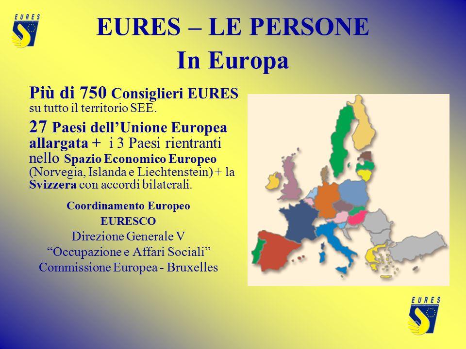 EURES – LE PERSONE In Europa Più di 750 Consiglieri EURES su tutto il territorio SEE.