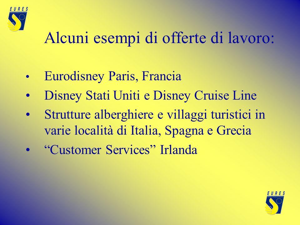 Alcuni esempi di offerte di lavoro: Eurodisney Paris, Francia Disney Stati Uniti e Disney Cruise Line Strutture alberghiere e villaggi turistici in varie località di Italia, Spagna e Grecia Customer Services Irlanda