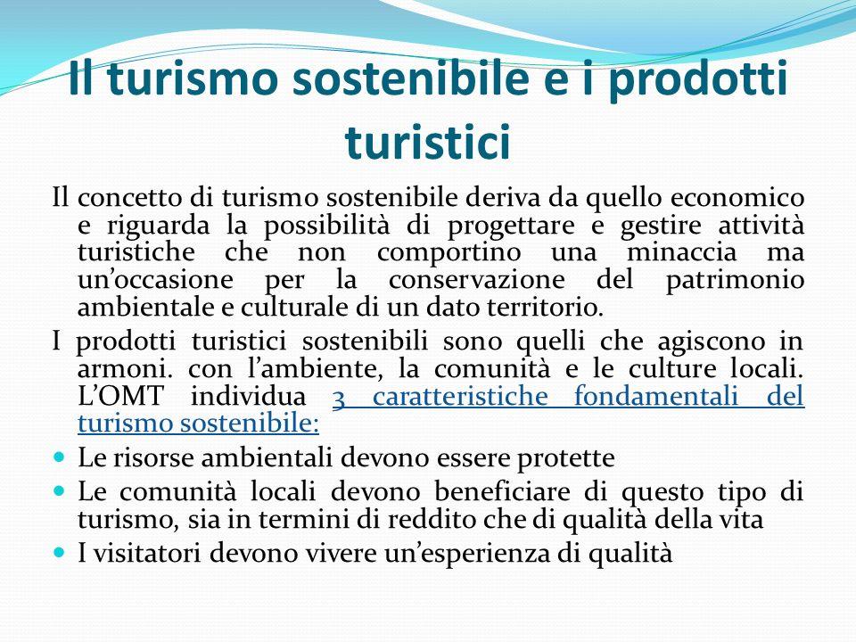 Il turismo sostenibile e i prodotti turistici Il concetto di turismo sostenibile deriva da quello economico e riguarda la possibilità di progettare e gestire attività turistiche che non comportino una minaccia ma un'occasione per la conservazione del patrimonio ambientale e culturale di un dato territorio.
