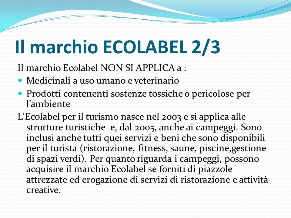 Il marchio ECOLABEL 2/3 Il marchio Ecolabel NON SI APPLICA a : Medicinali a uso umano e veterinario Prodotti contenenti sostenze tossiche o pericolose per l'ambiente L'Ecolabel per il turismo nasce nel 2003 e si applica alle strutture turistiche e, dal 2005, anche ai campeggi.