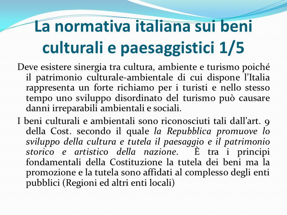 La normativa italiana sui beni culturali e paesaggistici 1/5 Deve esistere sinergia tra cultura, ambiente e turismo poiché il patrimonio culturale-ambientale di cui dispone l'Italia rappresenta un forte richiamo per i turisti e nello stesso tempo uno sviluppo disordinato del turismo può causare danni irreparabili ambientali e sociali.
