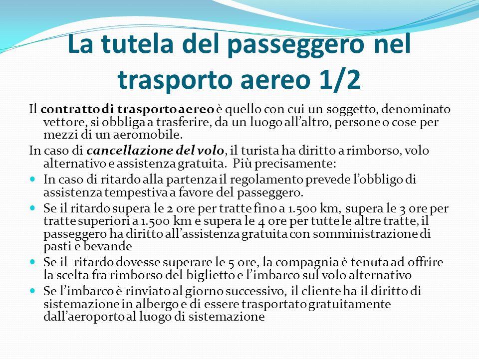 La tutela del passeggero nel trasporto aereo 1/2 Il contratto di trasporto aereo è quello con cui un soggetto, denominato vettore, si obbliga a trasferire, da un luogo all'altro, persone o cose per mezzi di un aeromobile.