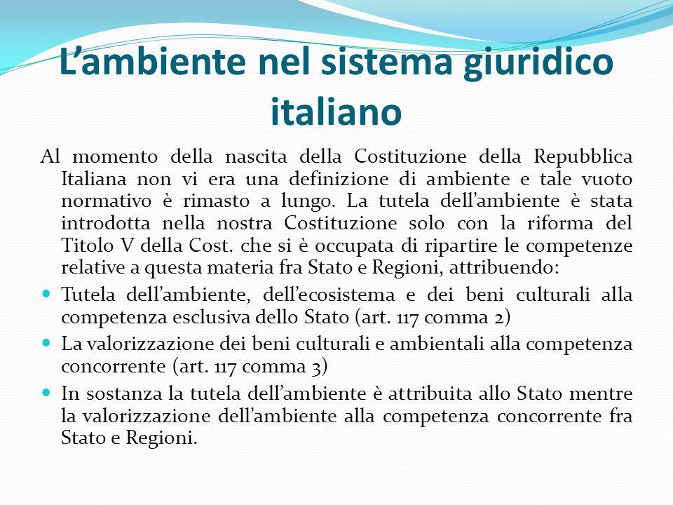 L'ambiente nel sistema giuridico italiano Al momento della nascita della Costituzione della Repubblica Italiana non vi era una definizione di ambiente e tale vuoto normativo è rimasto a lungo.