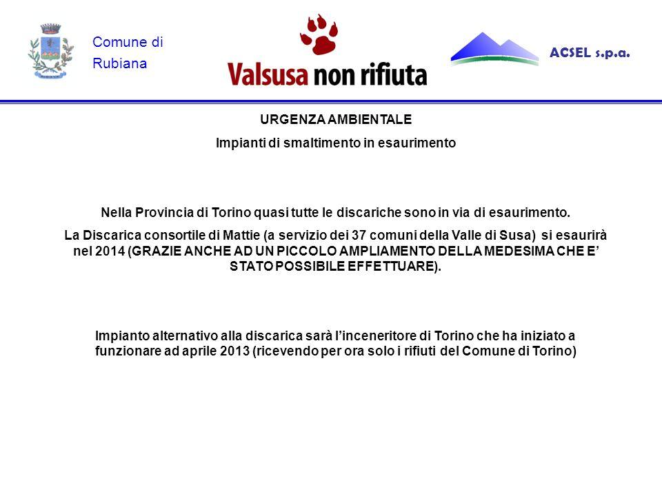 URGENZA AMBIENTALE Impianti di smaltimento in esaurimento Nella Provincia di Torino quasi tutte le discariche sono in via di esaurimento.