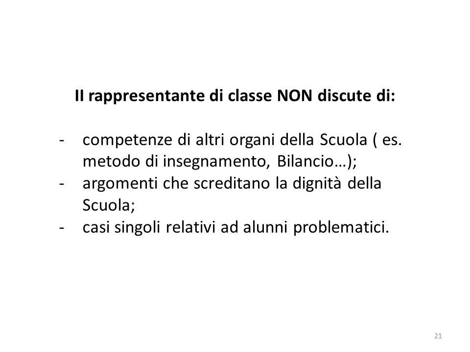 21 II rappresentante di classe NON discute di: -competenze di altri organi della Scuola ( es.