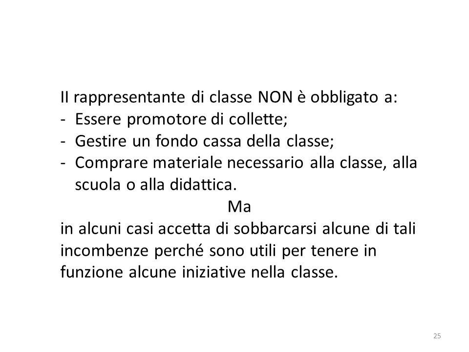 25 II rappresentante di classe NON è obbligato a: -Essere promotore di collette; -Gestire un fondo cassa della classe; -Comprare materiale necessario alla classe, alla scuola o alla didattica.