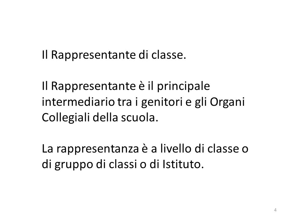 4 Il Rappresentante di classe.
