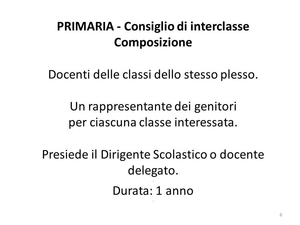 6 PRIMARIA - Consiglio di interclasse Composizione Docenti delle classi dello stesso plesso.