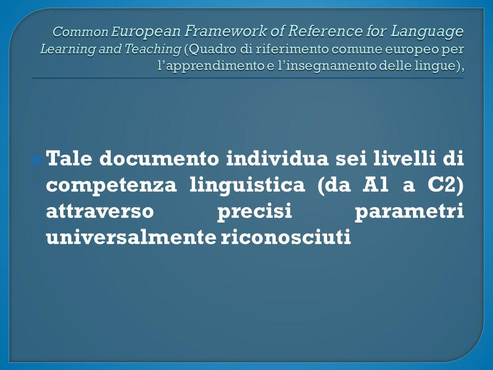  Tale documento individua sei livelli di competenza linguistica (da A1 a C2) attraverso precisi parametri universalmente riconosciuti