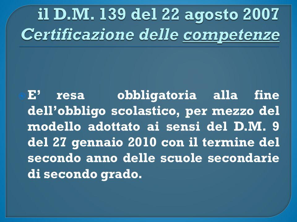 EE' resa obbligatoria alla fine dell'obbligo scolastico, per mezzo del modello adottato ai sensi del D.M.