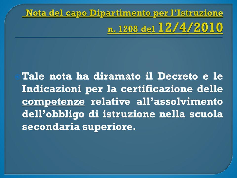  Tale nota ha diramato il Decreto e le Indicazioni per la certificazione delle competenze relative all'assolvimento dell'obbligo di istruzione nella scuola secondaria superiore.