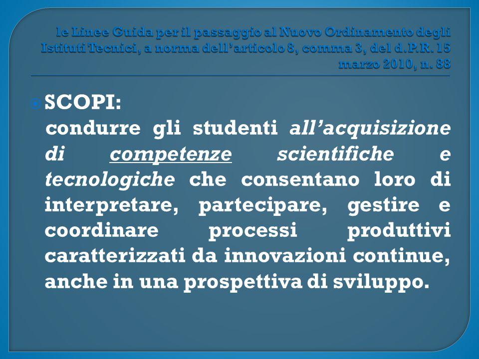  SCOPI: condurre gli studenti all'acquisizione di competenze scientifiche e tecnologiche che consentano loro di interpretare, partecipare, gestire e coordinare processi produttivi caratterizzati da innovazioni continue, anche in una prospettiva di sviluppo.