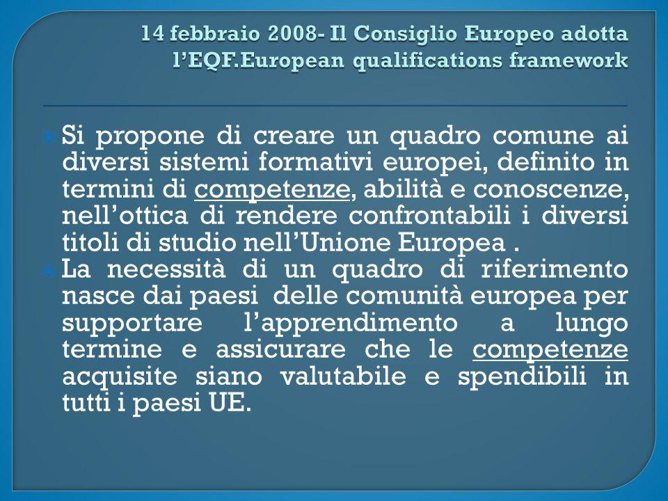 Si propone di creare un quadro comune ai diversi sistemi formativi europei, definito in termini di competenze, abilità e conoscenze, nell'ottica di rendere confrontabili i diversi titoli di studio nell'Unione Europea.