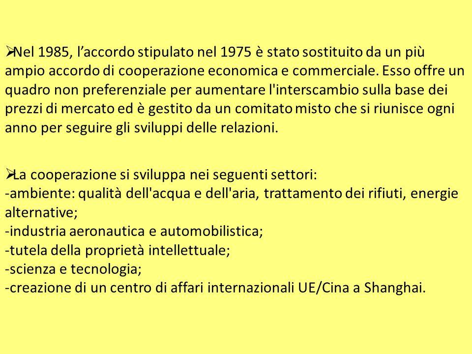  Tali restrizioni vengono allentate nell ottobre 1990 per quanto concerne i contatti ad alto livello, la cooperazione culturale, scientifica e tecnica e i nuovi progetti di cooperazione, mentre viene mantenuto l embargo sulle vendite di armi e la cooperazione militare.